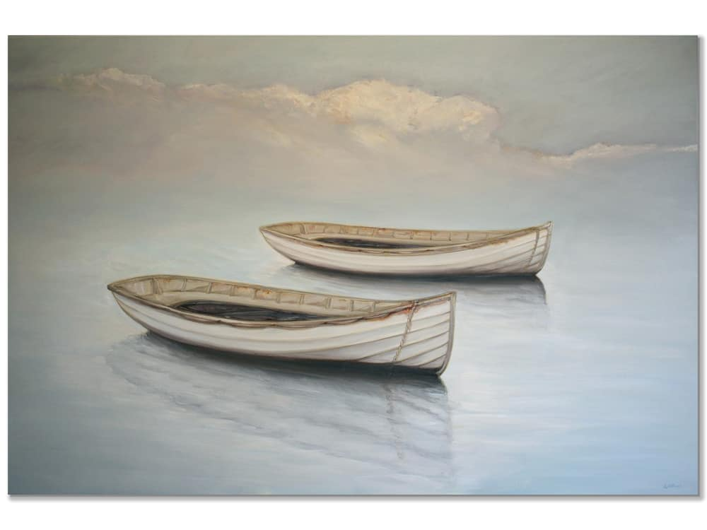 original painting of boats on canvas