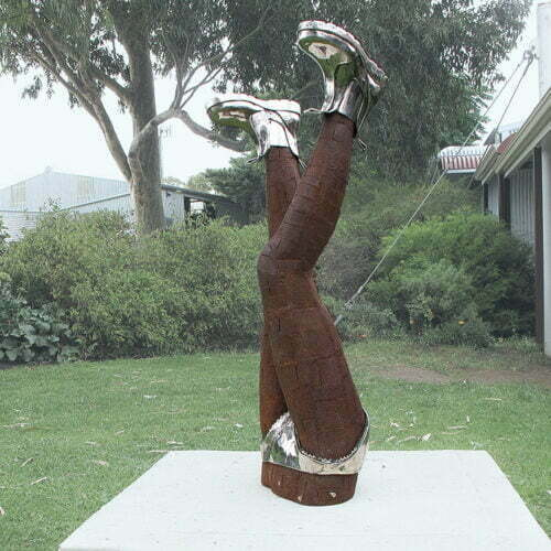 Bottoms-Up---108x55x30cm-CORTEN & STAINLESS STEEL [Stainless-steel,Outdoor,Landmark]--Nicole-Allen-Sculpture-Australian-Artist