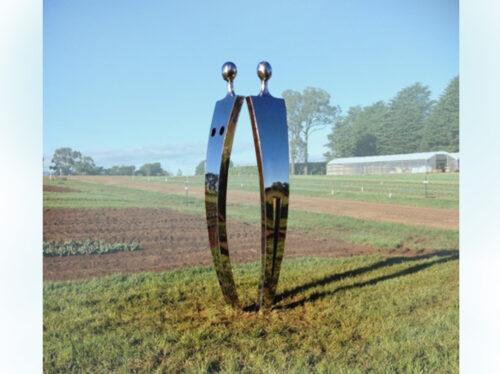 Eve-&-Adam---280x80x80cm-SAND CAST ALUMINIUM [Stainless-steel,Outdoor,Landmark] $35,000--Nicole-Allen-Sculpture--Australian-Artist