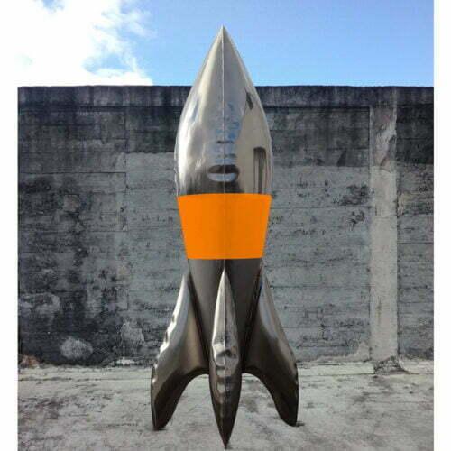 Agent-Orange-220cm-STAINLESS-STEEL-INDUSTRIAL-COATING-[stainless-steel,-free-standing,outdoor]david-mcCracken-rocket-sculpture-australian-artist-pop-art