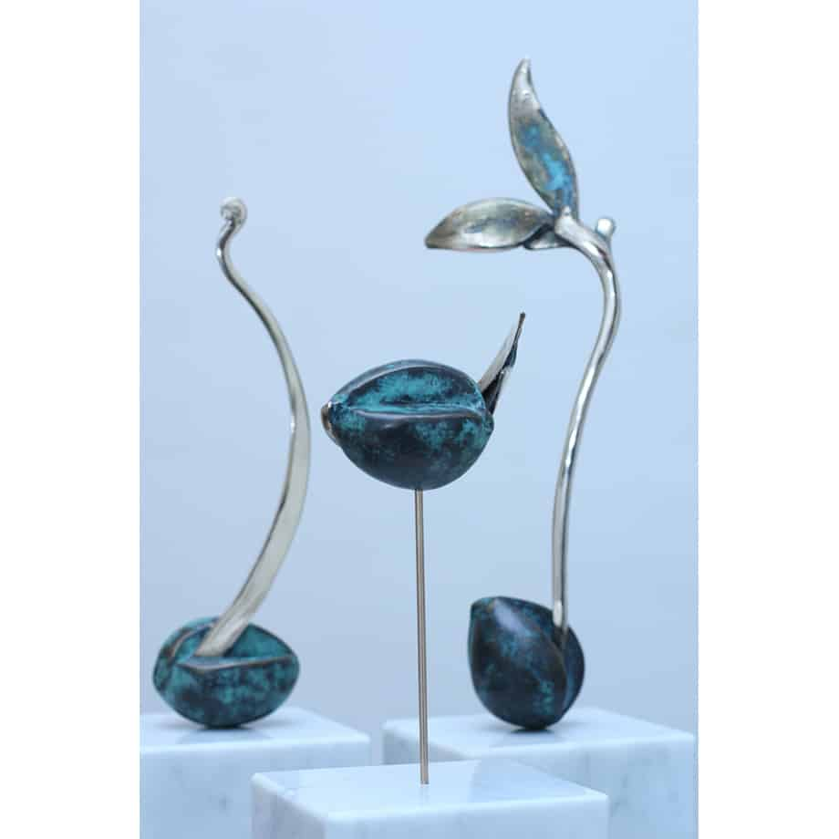 Avocado set-BRONZE-PATINA-polished-stainless- INCLUDE IMAGE FOR ALL SCULPTURES