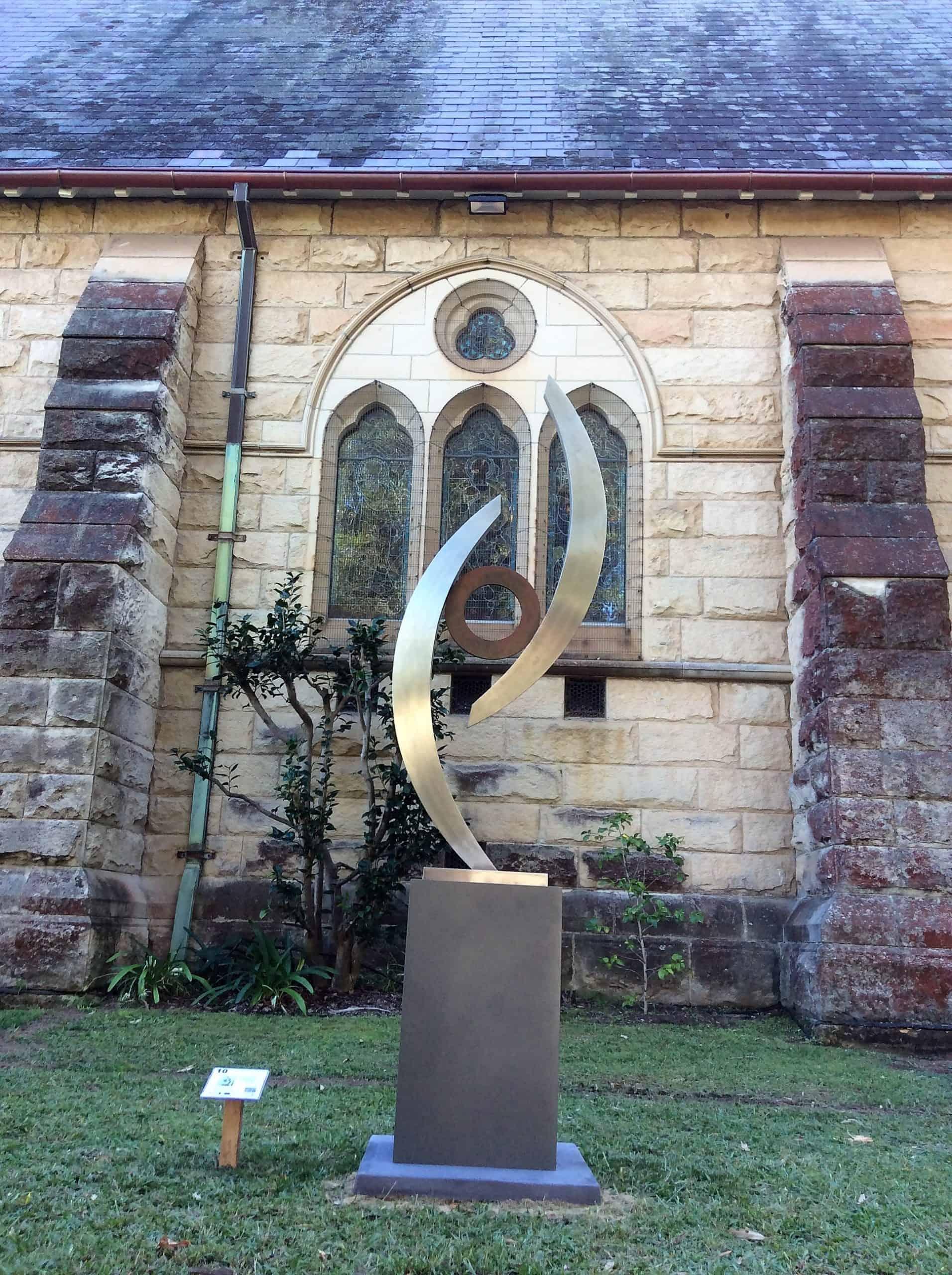 Embrace162x56cm-STAINLESSS-&-BRONZE-in-situ[bronze,free-standing,Stainless-steel,Outdoor,]-Ben-Fasham-abstract-garden-sculpture-australian-artist