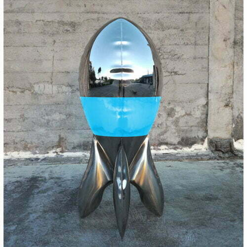 Blupe-120cm-STAINLESS-STEEL-INDUSTRIAL-COATING-[stainless-steel,-free-standing,outdoor]david-mcCracken-rocket-sculpture-australian-artist-pop-art