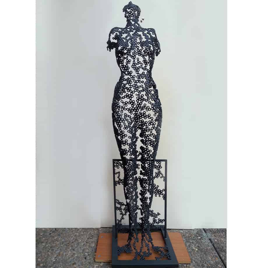 Body-Form-170x40cm--FABRICATED-STEEL-NUTS--[Free-standing,-figurative,Outdoor]-emad-dhahir-sculpture-female-body-art-australian-garden