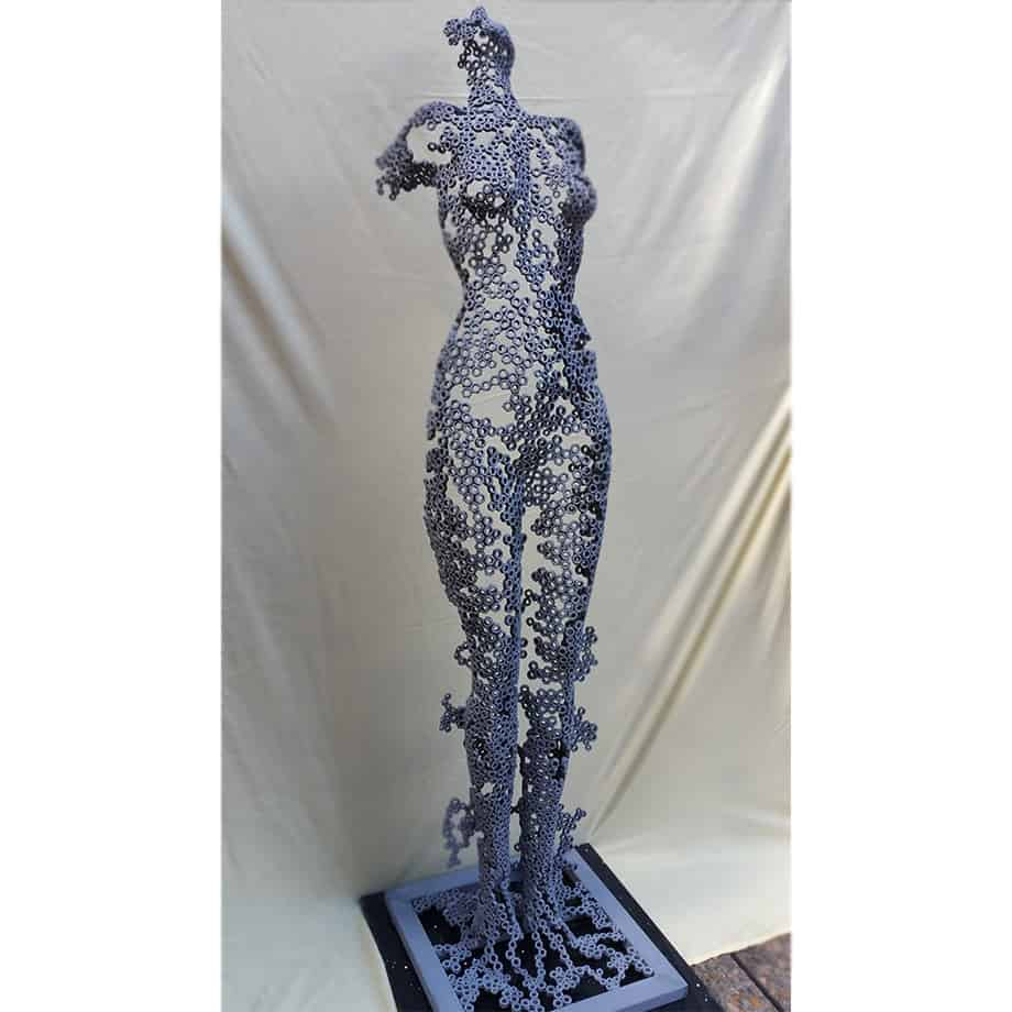 Body-Form-170x40cm----FABRICATED-STEEL-NUTS--[Free-standing,-figurative,Outdoor]-emad-dhahir-sculpture-female-body-art-australian-garden