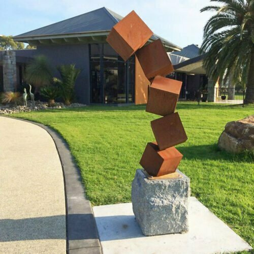 Building-Blocks-200cm--CORTEN-[Corten,-outdoor,]Pierre-Le-Roux-australian--sculpture-outdoor drive-way-entry-art-garden-cubes