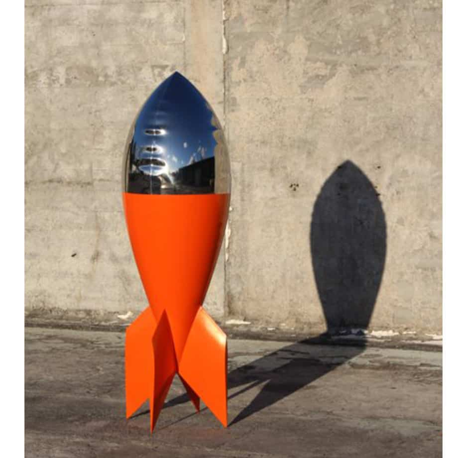 Carmine-180cm-STAINLESS-STEEL-INDUSTRIAL-COATING-[stainless-steel,-free-standing,outdoor]david-mcCracken-rocket-sculpture-australian-artist-pop-art