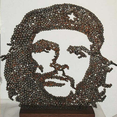 Che-63x40x14cm--FABRICATED-STEEL-NUTS-GRANITE-BASE-[-table-top,-figurative]-emad-dhahir-sculpture-face-art-australian-che-guevara