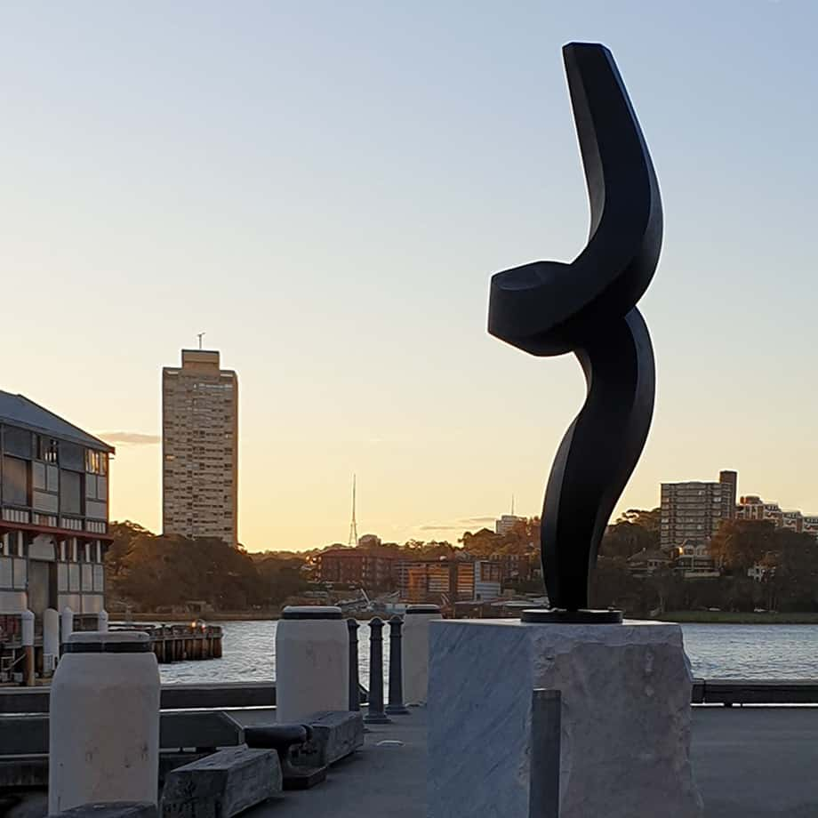 Classical-Dynamism-400x100cm--[outdoor,-landmark]-martin-george-australian-artist-garden-sculpture-twisted-black-contemporary-art