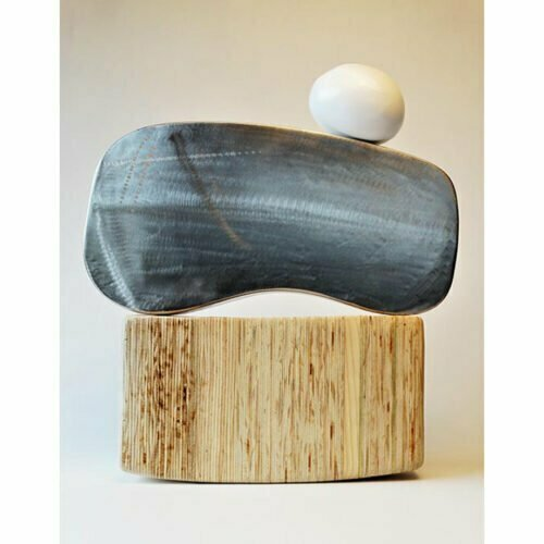 Curve-and-Roll-50cm-STAINLESS-Veneer-BRASS[Table-top]Donal-Molloy-Drum-australian-abstract-interior-sculpture-japanese-modern-contemporary-sculpture