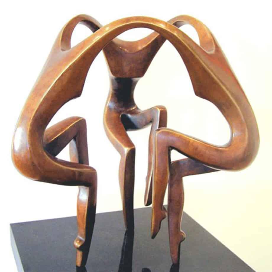 Dancers-35cm--BRONZE-[tabletop,bronze,figurative]michael-vaynman-sculpture-australian-female-figure-bronze-art