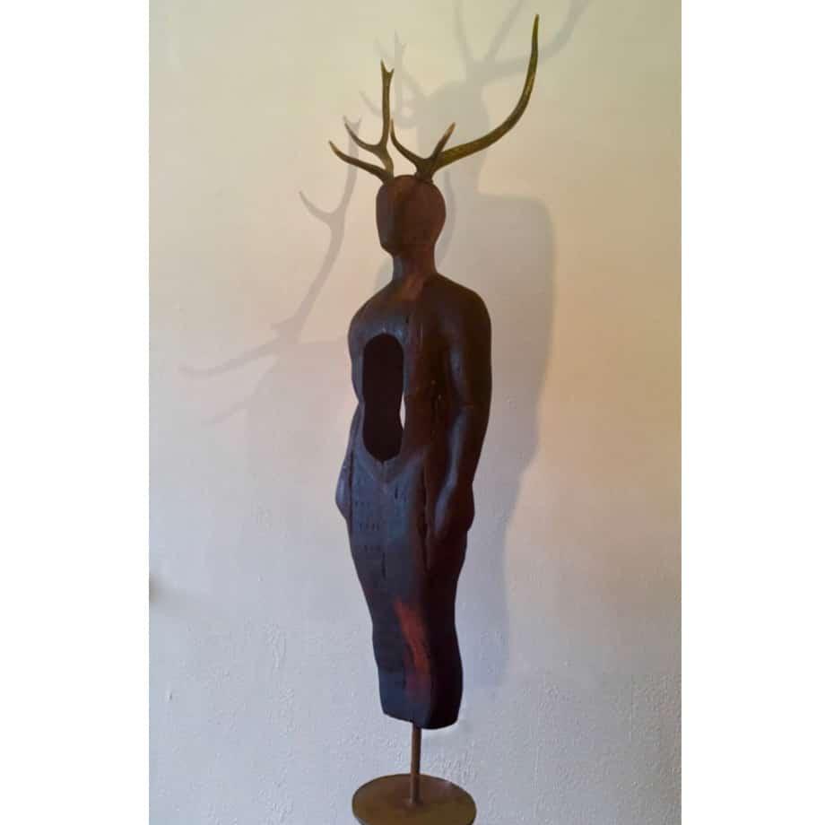 Dear-Hart-221cm-Bronze-antler-reclaimed-timber-body--[Freestanding,-figurative]Clancy-Warner-australian-sculpture-human-figure--timber-art