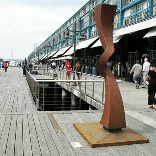 Deflect-270x40cm-MILD-STEEL-CORTEN-[Corten,Outdoor]-Chris-Flenley-sculpture-abstract-australian-art-garden-sculptor