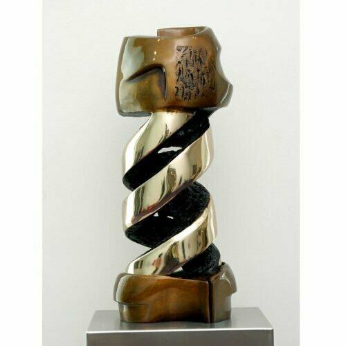 Double-Helix-limited-to-12-50x20cm--BRONZE-[bronze,-table-top]-Robin-Holliday-abstract-australian-bronze-scientific--sculpture