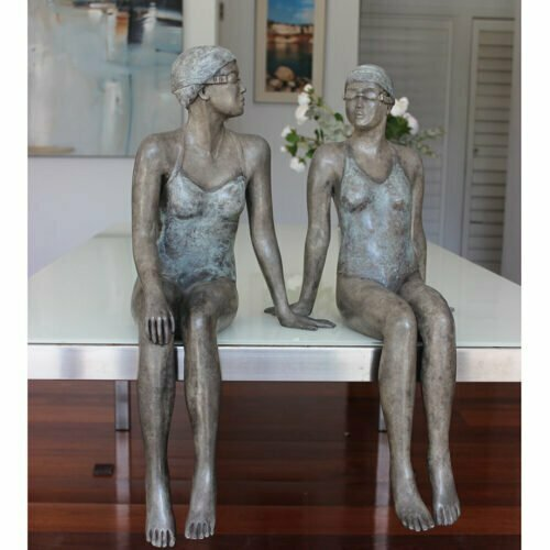 Early-Mornings-67x30cm---BRONZE-WITH-PATINA-[Table-top,Bronze,-Figurative]-mela-cooke-australian-female-sculpture