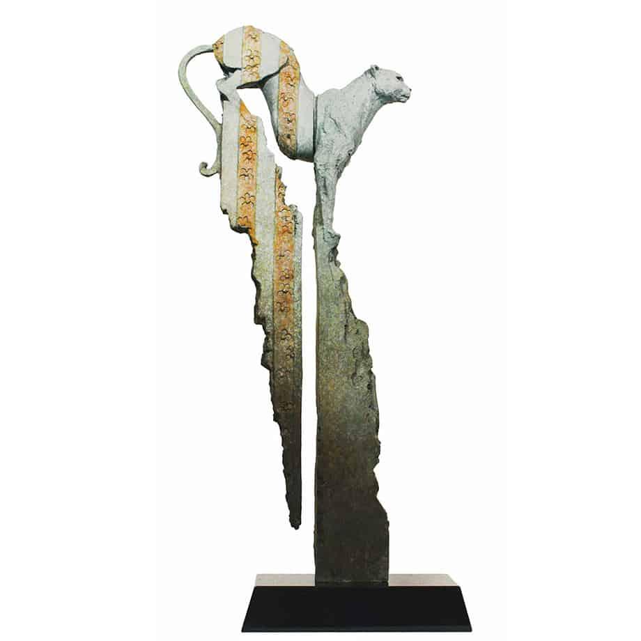 Fauna-100cm--BRONZE-[bronze,-table-top]-Stephen-Glassborow-australian--sculpture-cheetah-in--bronze