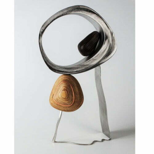 Fluid71cmSTAINLESS-STEEL-PLYWOOD-VENEER[table-top]dDonal-Molloy-Drum-australian-abstract-interior-sculpture-japanese-modern-contemporary-sculpture