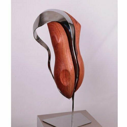Godiva-60x30cm--POLISHED-STAINLESS-&-REDGUM-{Table-top,-wood,-stainless-steel]-John-fitzmaurice-original-australian-interior-sculpture