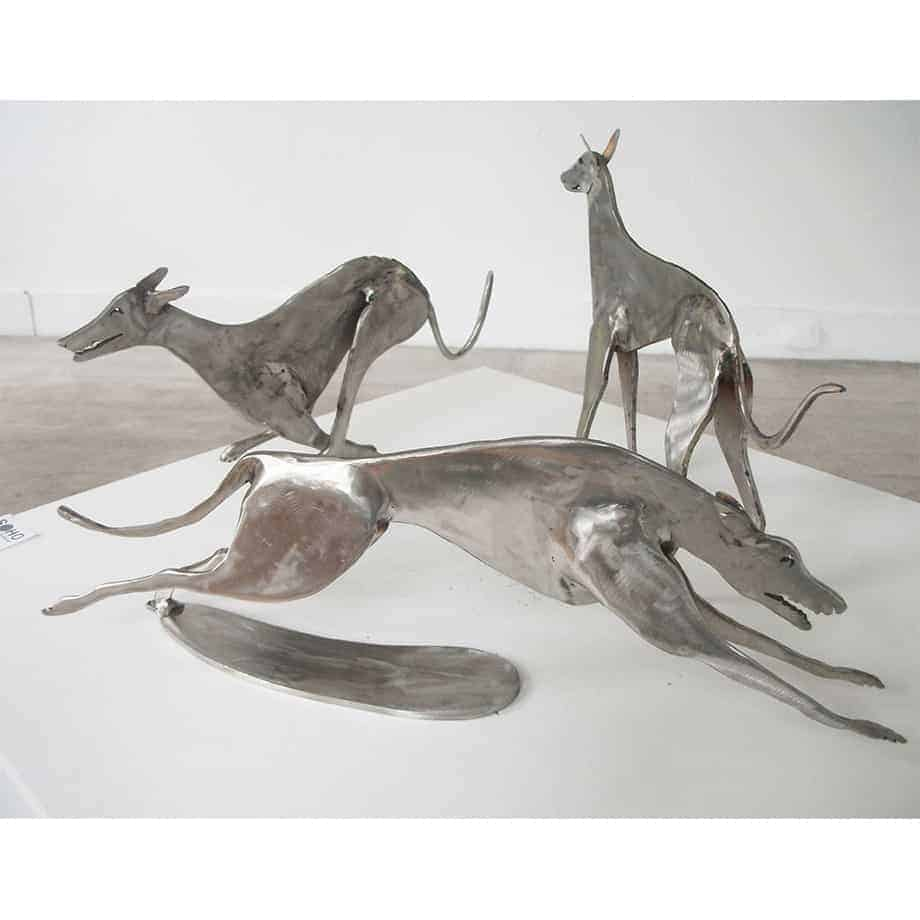 Grey-Hounds-40x20cm-POLISHED-STAINLESS-STEEL-[stainless-steel,-table-top]-Stephen-Coburn-australian-interior-sculpture