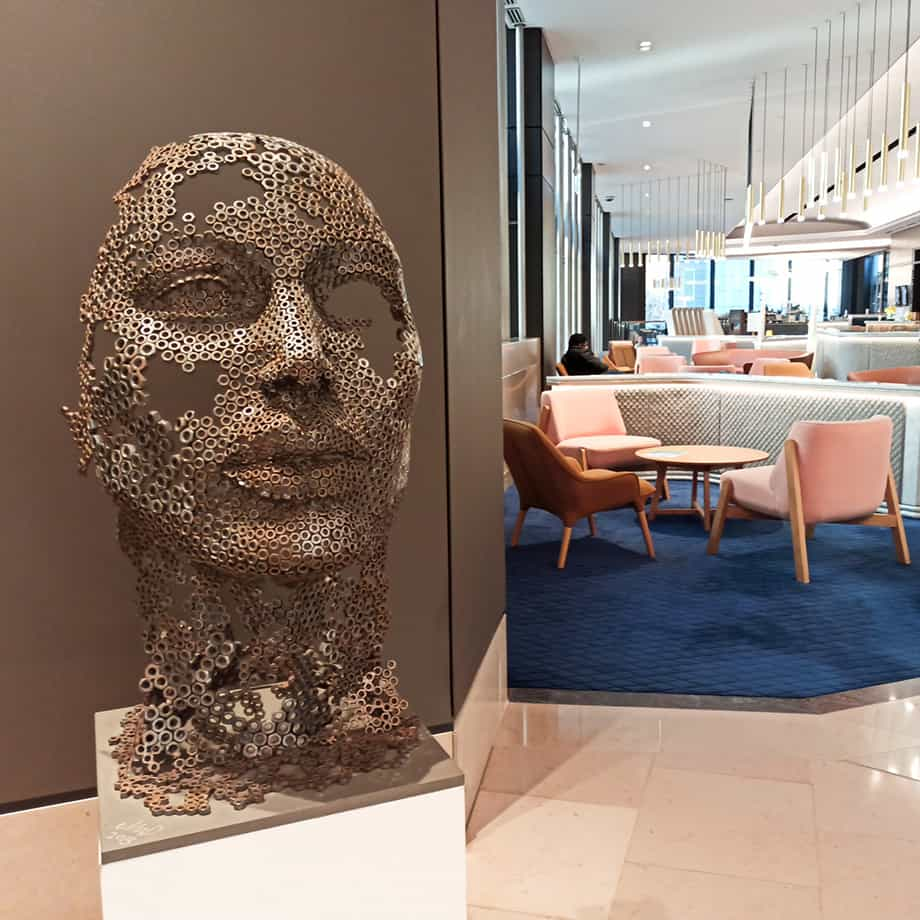 Hedonist-100x50cm--FABRICATED-STEEL-NUTS-GRANITE-BASE-[-table-top,Outdoor]-emad-dhahir-sculpture-face-art-australian-female