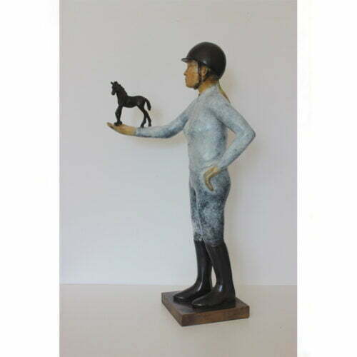 Horse-in-hand---BRONZE-WITH-PATINA-[Table-top,Bronze,-Figurative]-mela-cooke-horse-and-jockey-equestrain-sculpture