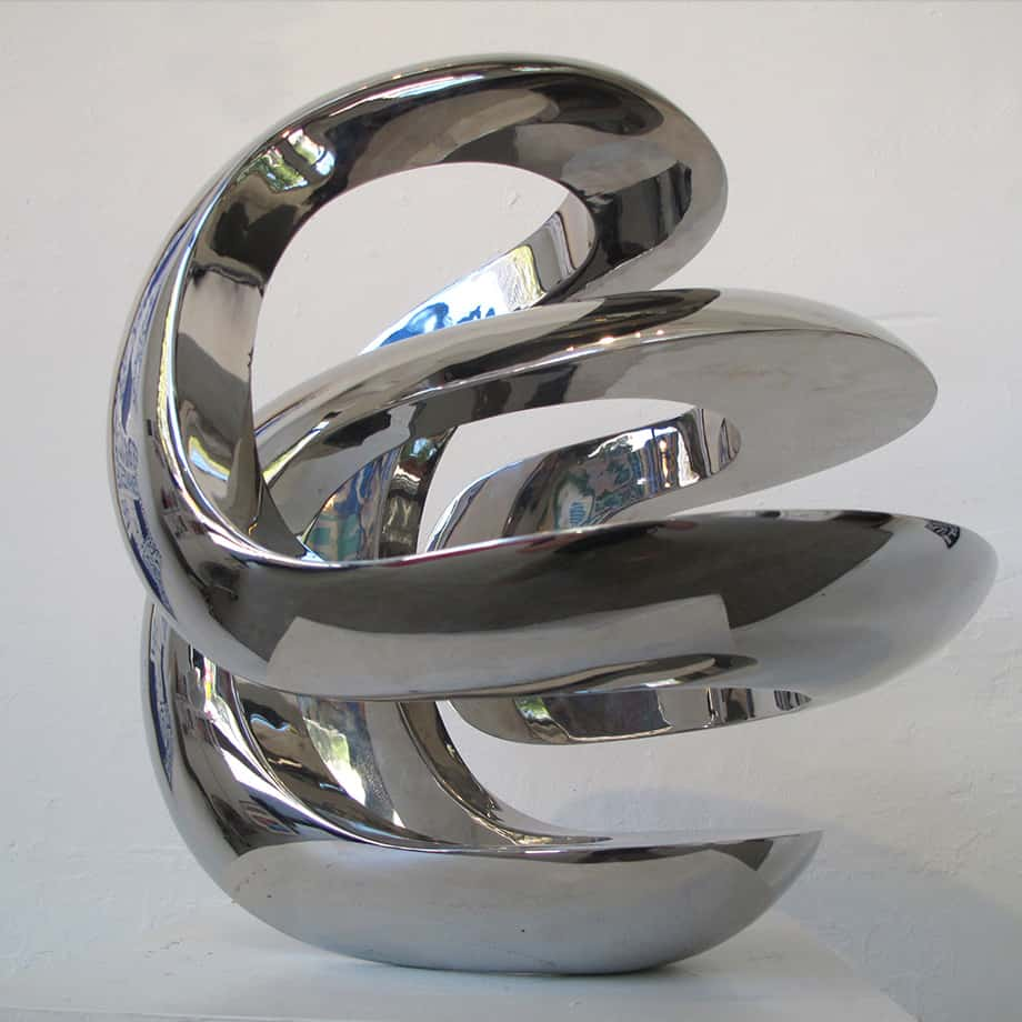 Intersecting-Envelope-40x40cm-POLISHED-Stainless-STEEL[[Table-top,Stainless-steel]blazeski-australian-abstract-sculpture-spherical-art