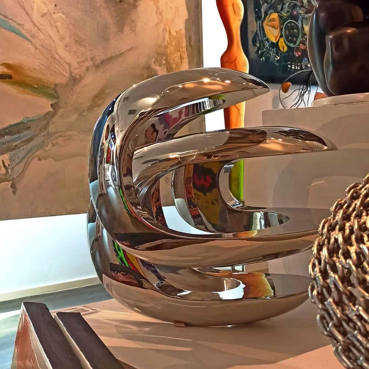 Intersecting-Envelope-40x40cm-POLISHED-StainlessSTEEL[Table-top,-Stainless-steel]blazeski-australian-abstract-sculpture-spherical-art