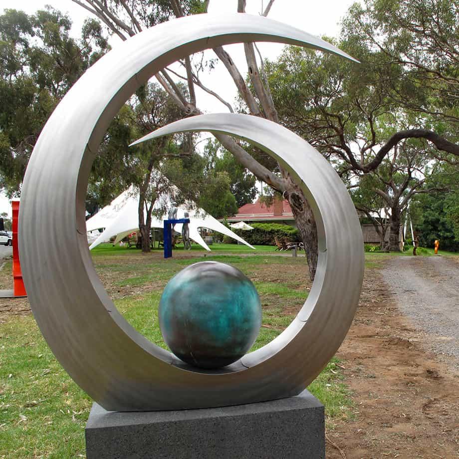 Jewel-D'le-Mar-223x200cm-STAINLESSs-&-BRONZE-in-situ[bronze,Stainless-stell,Outdoor,-landmark]-Ben-Fasham-abstract-garden-sculpture-australian-artist