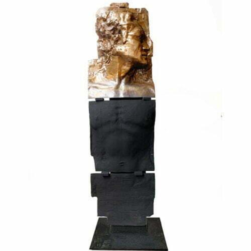 Man-Made-125x40cm--BRONZE on STEEL-[bronze,-free-standing]-Stephen-Glassborow-sculpture-greek-statue-male-figure-bronze