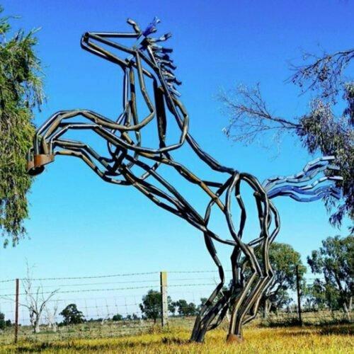 Mighty-Mustangl--300cm--FABRICATED--MILD-STEEL-OILED-outdoor,landmark-Tobias Benent,-australian-horse-sculpture-large-oversize