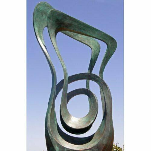 Momentum--147x47cm-BRONZE-with--TEAL-PATINA[free-standing-bronze,outdoor]blazeski--australian-abstract-sculpture