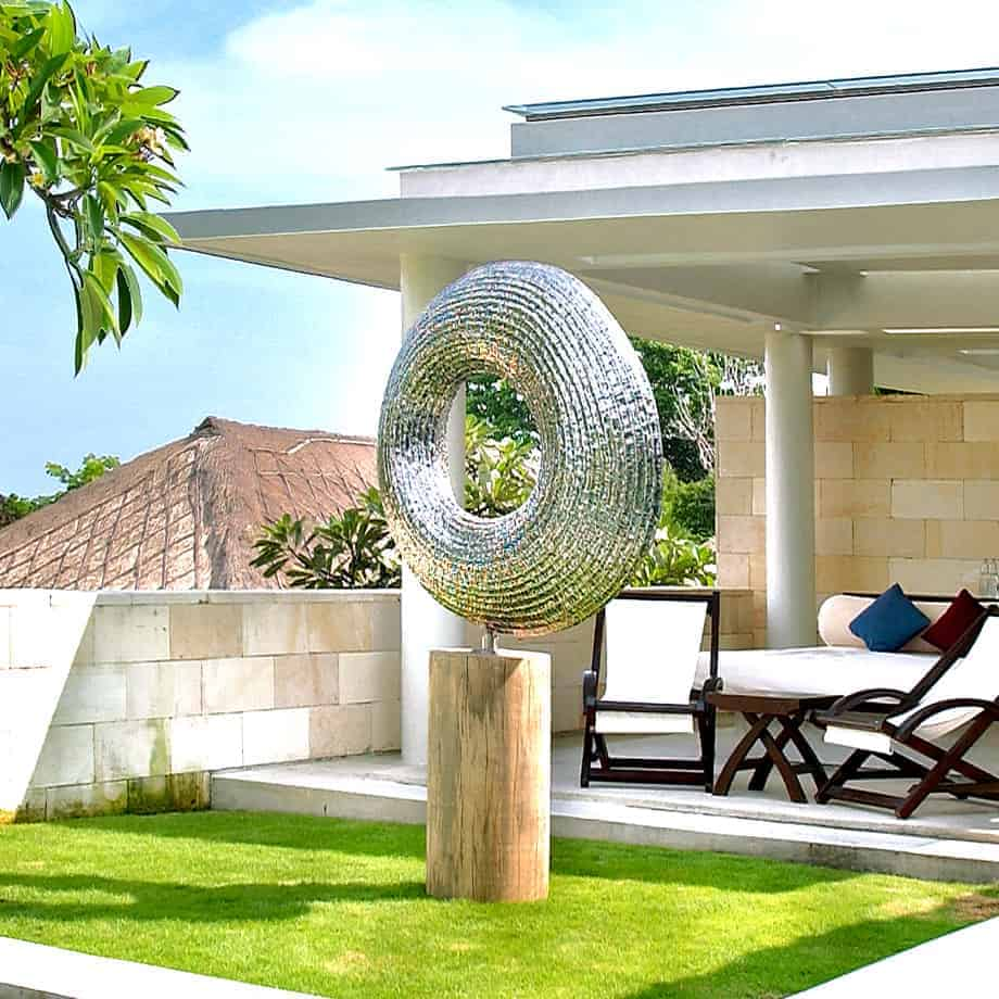 Neo-Rising-140x1140cm--STAINLESS-STEEL-with-TIMBER-plinth-[free-standing,outdoor,Stainless-steel]-CHEN-australian-sculpture-large-sphere