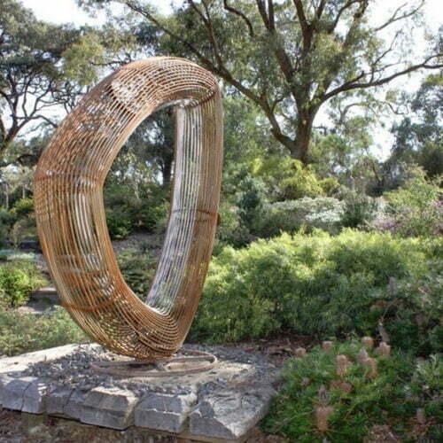 Orb--Lineal--2.4m-CORTEN-STEEL-[corten,outdoor]paul-mutimer-garden-sculpture-out-door-garden-sphere-art