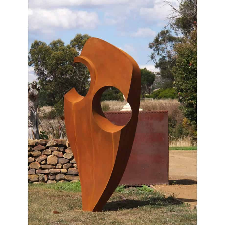 Pierced-Form160cm--Fabricated-Steel-[Outdoor,Corten,-landmark]Kooper-Folko--australian--sculpture-outdoor-garden-art-