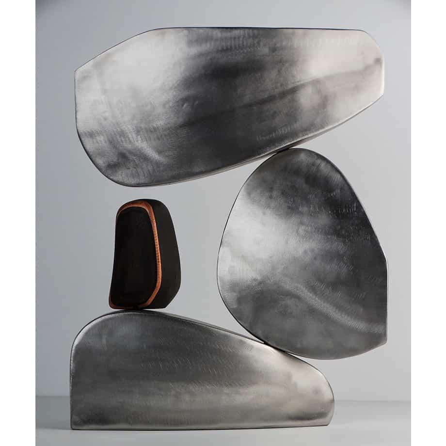 Poise-42cmSTAINLESS-VENEER-copper-BRASS[table-top]dDonal-Molloy-Drum-australian-abstract-interior-sculpture-japanese-modern-contemporary-sculpture