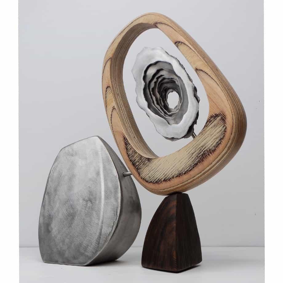 Ramble-to-Sea-36cmSTAINLESS-STEEL-PLYWOOD-VENEER[table-top]dDonal-Molloy-Drum-australian-abstract-interior-sculpture-japanese-modern-contemporary-sculpture.