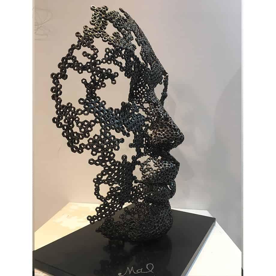 Rebirth-54x33x70cm-FABRICATED-STEEL-NUTS-GRANITE-BASE-[-table-top,-figurative]-emad-dhahir-sculpture-face-art-australian-female