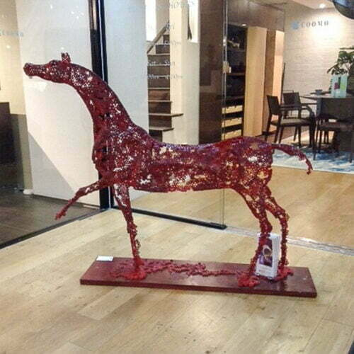 Red-Horse-122x144cm-FABRICATED-STEEL-NUTS-TIMBER-BASE-[outdoor,free-standing]-emad-dhahir-sculpture-horse-sculpture-art-australian