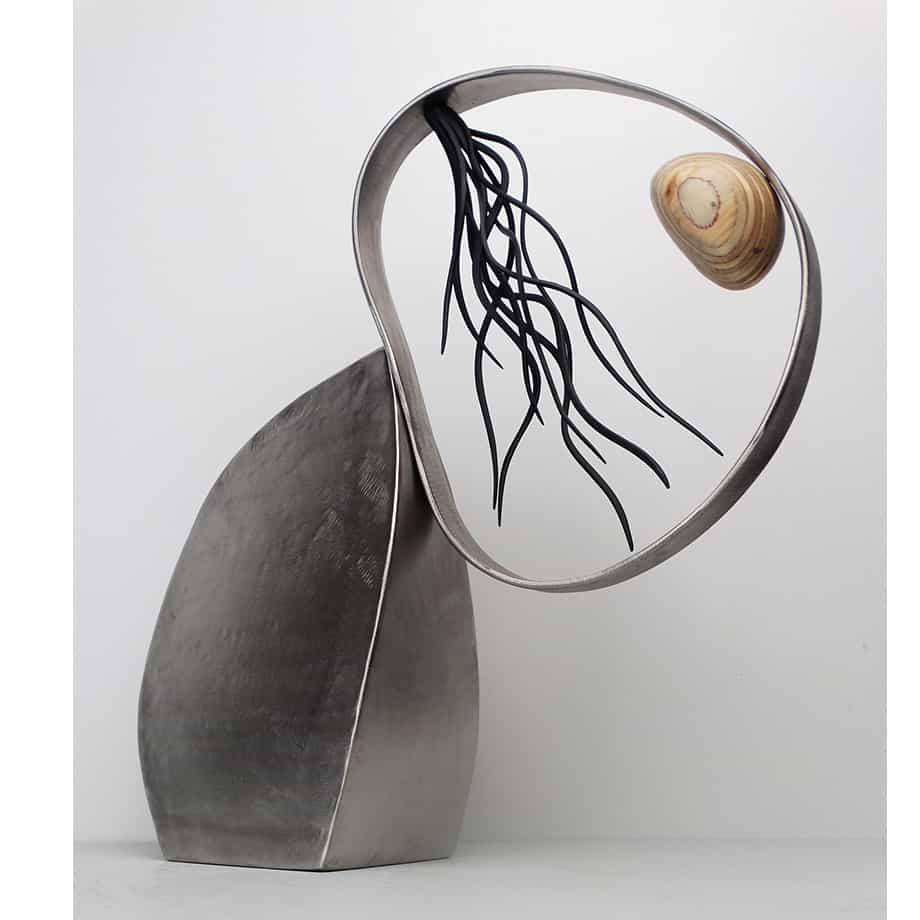 Renew-46cmSTAINLESS-STEEL-PLYWOOD-VENEER[table-top]dDonal-Molloy-Drum-australian-abstract-interior-sculpture-japanese-modern-contemporary-sculpture