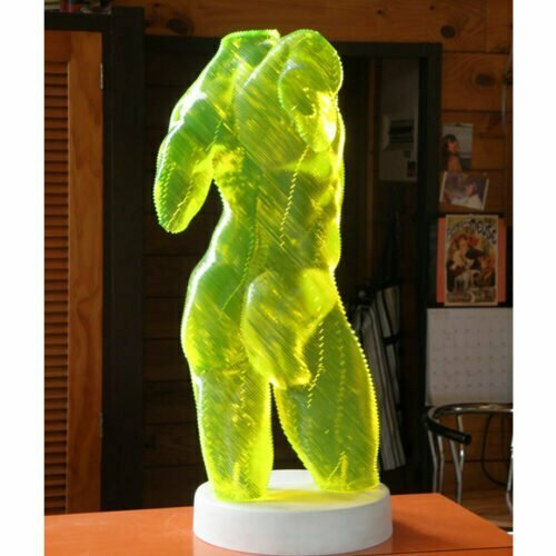 Roberto-Fluro-Yellow-45x20cm---ACRYLIC--LASER-CUT-[table-top,figurative]Olivier-Duhamel-male-body-sculpture-nude-wood-form-australian