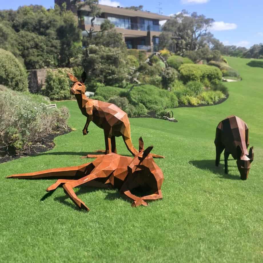 Roo-Pack [corten, outdoor] matt hill australian sculpture horse outback garden sculpture