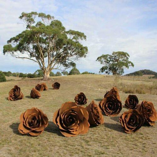 Roses-150cm-Fabricated-Steel-[Outdoor,Corten]Kooper-Folko-australian-flower-sculpture-outdoor-garden-art-leaves-nature