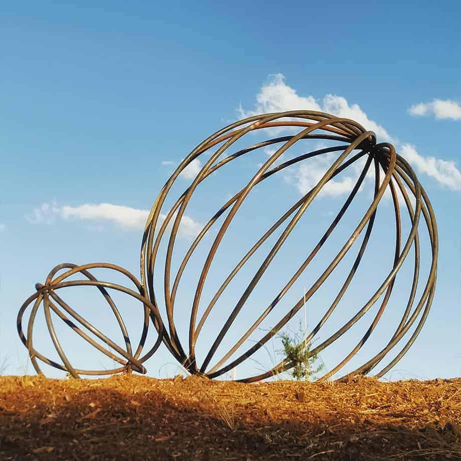 SPHERES--240cm--&-90cm---FABRICATED--MILD-STEEL-PIPE-NATURAL-OXIDE-[outdoor,landmark]-Tobias Benent-australian--sculpture-large-oversize