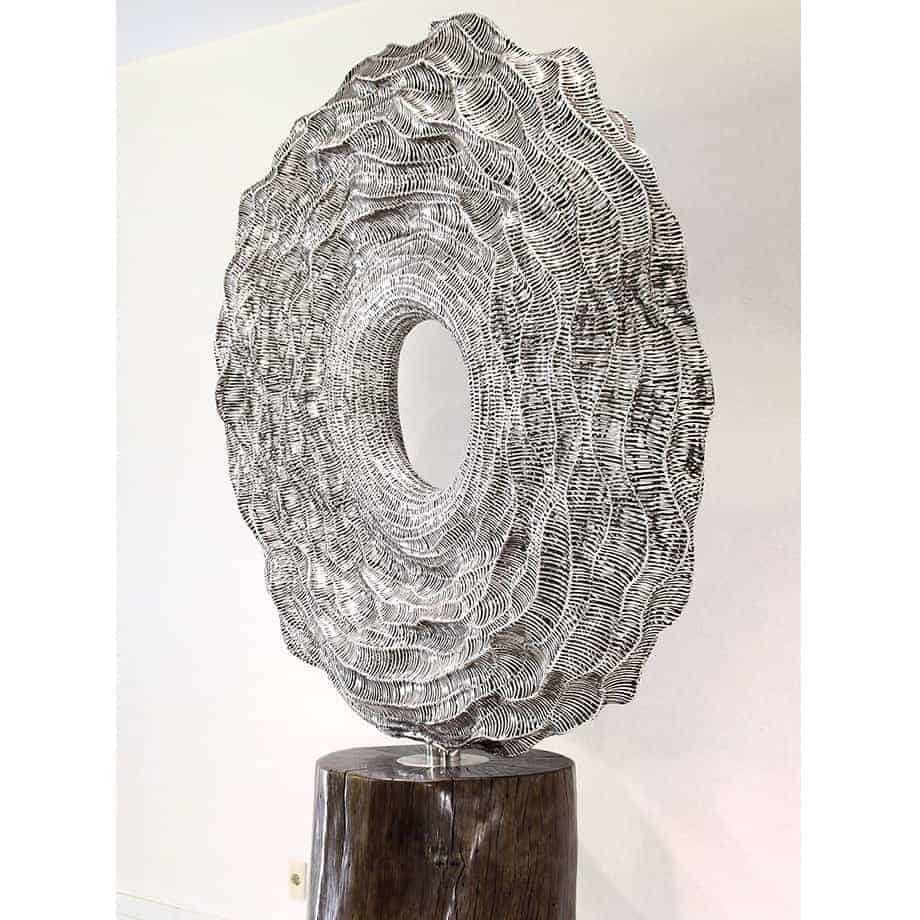 Seismic-Activity--STAINLESS-STEEL-WITH-TIMBER-STAND-[free-standing,outdoor]-CHEN-australian-sculpture-large sphere