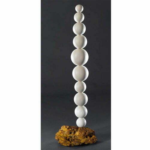 Spheres---110cm-CERAMIC-TOTEM-[ceramic,free-standing,outdoor]-walter-auer--australian-ceramic-white-sculpture