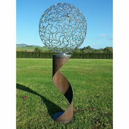 Spiral-Sphere-outdoor,freestanding-jason-aslin-outdoor-australian-garden-sculpture