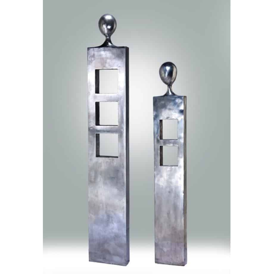 Squared-Up-and-Squared-Away--157x24x8cm-SAND CAST ALUMINIUM [Stainless-steel,Outdoor,free-standing]--Nicole-Allen-Sculpture-Australian-Artist