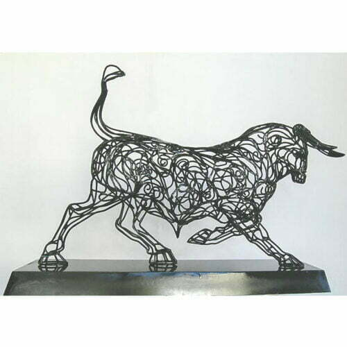 Steel-Bull-115x80x36cm-MILD-STEEL,-PAINTED-[Table-top,Outdoor,Stainless-steel]-Matt-Carney-Australian-bull-Sculpture
