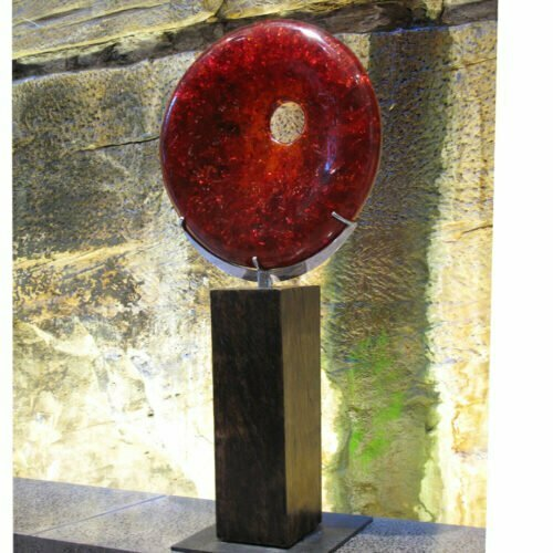 Sunset-Red-190x100x30cm-RESIN-WITH-STAINLESS-STEEL-AND-TIMBER--STAND-[free-standing,outdoor]-CHEN-australian-sculpture-resin-red-sphere