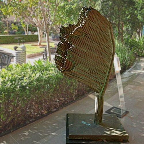 Survivor-4-16x92cm-BRONZE-[Bronze,freestanding,outdoor]-max-lyle-australian-sculpture-leaves,-leaf-natural-native